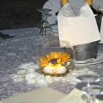 centro tavola margherita e candele acquatiche